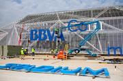 Installation of the BBVA Compass sign at the new home of the Houston Dynamo began April 4.