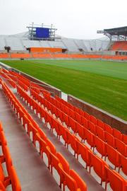 A view of field-level seats in the new BBVA Compass Stadium.