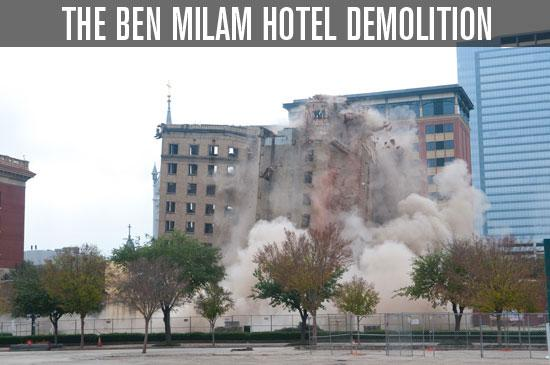 The Ben Milam Hotel was imploded by D.H. Griffin of Texas Inc. at 12:30 p.m. on Dec. 9.