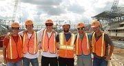 Six Houston Dynamo players got a look at the new downtown stadium this week. From left, defender Hunter Freeman, defender Bobby Boswell, defender Geoff Cameron, midfielder Adam Moffat,midfielder Brad Davis, midfielder Colin Clark.