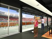 This rendering shows the view from inside the VIP Club level lounge at the new Houston Dynamo stadium, with the Club seats shown at left.