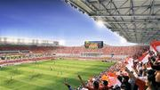 A rendering of the inside of the Houston Dynamo stadium showing the main color video scoreboard.