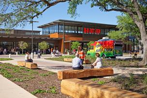H-E-B's newest store at Fountain View and San Felipe, which is still in the design phase, will model the format of the Montrose location (pictured), at West Alabama and Dunlavy, which recently won an Urban Land Institute award.