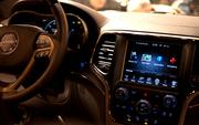 "The interior of the newest Grand Cherokee model, branded as the ""SUV of Texas."""