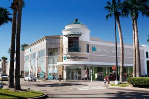 An exterior rendering of the new Kelsey-Seybold Clinic at Meyerland Plaza. Click through for more renderings.