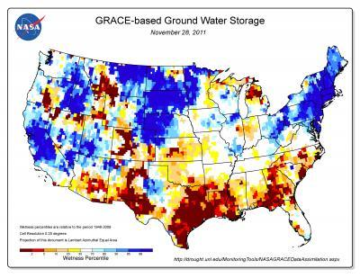 New NASA imaging maps indicate the effect of drought conditions across the country, indicating severely depleted groundwater storage levels in Texas. The maps use an 11-division scale, with blues showing wetter-than-normal conditions and a yellow-to-red spectrum showing drier-than-normal conditions.