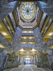 The Harris County Courthouse renovation project used the same quarry where the original marble was quarried 100 years ago for the new marble, which replaced missing panels and provided a distinguishing feature of the project.