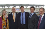 """Houston Mayor Annise Parker, BBVA Compass President and CEO Manuel """"Manolo"""" Sanchez, Houston Dynamo President Chris Canetti, City of Houston Councilmember, District I, James Rodriguez, Harris County-Houston Sports Authority Chairman J. Kent """"Kenny"""" Friedman (from left to right)"""