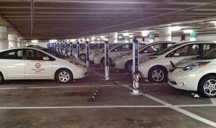 Houston Fleet Share will initial include 25 of the city's electric vehicles, such as these Nissan Leafs.