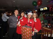 PBK held its Christmas party at Bowl 300. Pictured from left: Brandon Ross, Ashley Wang, Sofia Moncuse and Hannah Deford.