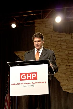 Gov. Rick Perry addressed a Houston crowd Thursday where he gave his third rendition of his State of the State speech.