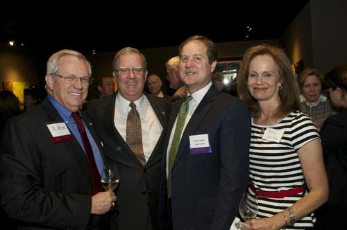 From left, Al Reese; Fritz Koehler, managing director of BancorpSouth Insurance Services; Mark Smith, a Best CFO nominee and CFO of Ultra Petroleum Corp.; and Vicky Smith mingled at the Houston Business Journal's VIP reception.