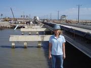 Rice University researcher Jamie Padgett at the Rollover Pass Bridge on Bolivar Peninsula, northeast of Galveston on the Texas Gulf Coast. The bridge, which got high marks from the National Bridge Inventory in 2008, was destroyed by Hurricane Ike later that year.