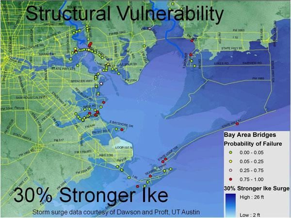 Preliminary results from a study of Gulf Coast infrastructure by Rice University researchers shows more than a dozen bridges that would be at risk of severe damage in a hurricane with a similar landfall as Hurricane Ike but with 30 percent stronger winds.