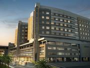 This rendering shows more detail of the twin towers of the new Jennie Sealy Hospital on the UTMB campus in Galveston. The hospital features 250 rooms and 20 operating suites, as well as a 54-bed intensive care unit.