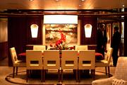 Just because you're on a boat doesn't mean you can't dine in class, as this shot of the vessel's main dining room shows.