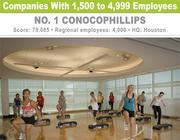 ConocoPhillips' fitness center offers 60 classes each week.