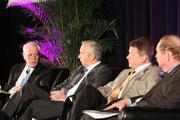 From left: Moderator Bob Thomas of Porter Hedges LLP and panelists Bobby Tudor of Tudor, Pickering, Holt & Co.; Floyd Wilson of Halcon Resources Corp.; and John Felmy of API.