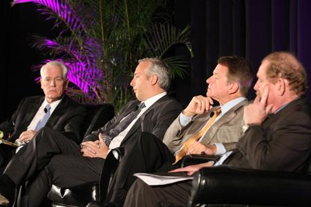 The Houston Energy Forum was moderated by Robert Thomas (left), and panelists included Bobby Tudor (second from left), Floyd Wilson and John Felmy.