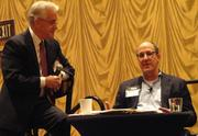 Russ Capper moderates the CEO Summit panel, which featured Blinds.com CEO Jay Steinfeld, right.