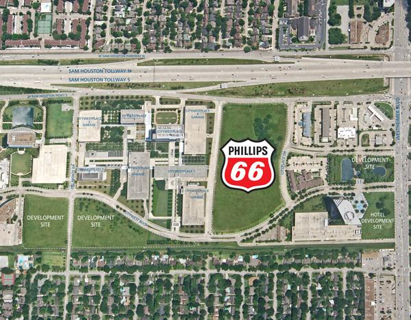 Phillips 66 (NYSE: PSX) will build its global headquarters on a 14-acre site in the Westchase District, located off Beltway 8 West between Westheimer Road and Briar Forest Drive.