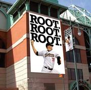 """A wallscape featuring the Houston Astros' 2012 ad campaign """"Root! Root! Root!"""""""
