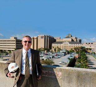 UTMB Vice President Michael Shriner overlooking where the $438 million Jennie Sealy Hospital will be built.