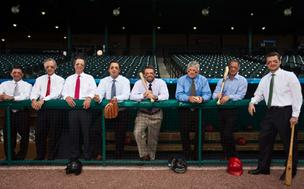 The 2012 MVPs on deck from left: John Ferruzzo, Joseph Peddie, Ronnie Deyo, John Nicholson, Graham Horton, Brendan Lynch, David Stukalin and Tim Dosch.