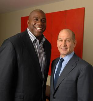 Managing Director Magic Johnson (left) and Managing Partner Bobby Turner of Canyon-Johnson Urban Funds LLC: 'Houston is a great city.'