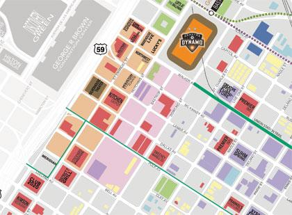 An internationally focused, interactive park (indicated by the pink blocks adjacent to the Dynamo Stadium) is in the early stages of development.