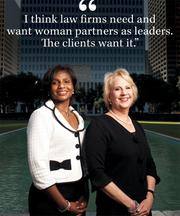 Shauna Johnson Clark, left, and Christine LaFollette, are both the top local executive of their Houston law firms.