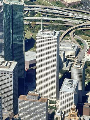 One Shell Plaza (pictured) and Two Shell Plaza have been put on the sales block by The Hines U.S. Core Office Fund.