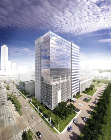 A rendering of the proposed tower at 2200 Post Oak Blvd.