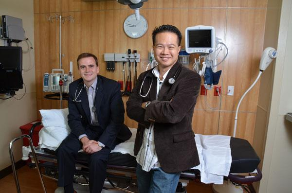 Chris Langan, left, and David Wong turned their experience with the uninsured into a startup.