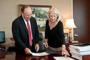 Wolterman goes over his daily and weekly agenda with his secretary, Patricia Martin, who has been with him since day one at the health care system.