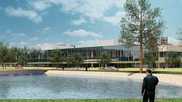 In addition to energy-efficient design elements, Halliburton's headquarters renovations, shown in this rendering, will include planting more than 500 trees.