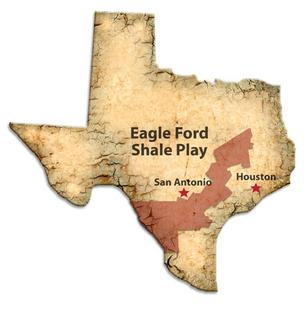 A map of the Eagle Ford Shale oil-and-gas producing region.