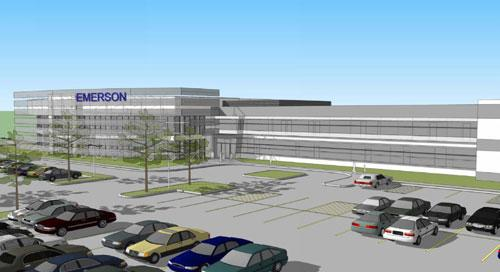 A rendering of Emerson Process Management's new valve automation American headquarters.