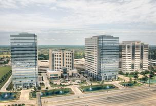 Rendering of Energy Tower III (left), superimposed next to existing buildings in Mac Haik Realty's 21-acre Energy Plaza.