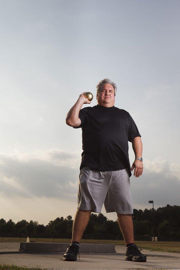 Gary Gunn, co-managing partner at Hughes Watters Askanase LLP, prepares to hurt the shot.