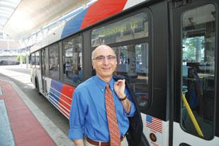 George Greanias said he takes public transportation to work most days of the week.