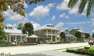 A rendering shows proposed homes in the Texas City Grand Cay Harbor development.
