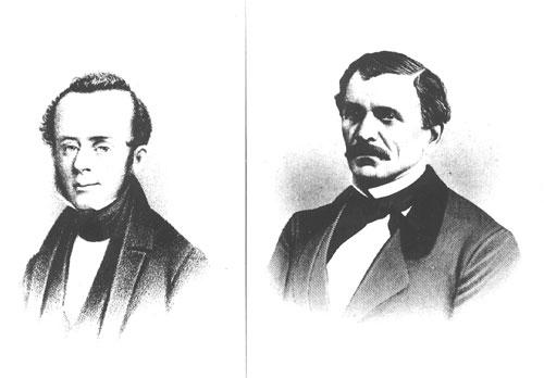 The Allen brothers, John Kirby, left, and Augustus, established the Town of Houston at the juncture of Buffalo and White Oak bayous.