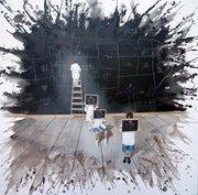 Hugo Lugo Educación felíz Oil and acrylic on canvas 100x100 cm 2011 Courtesy Ginocchio Galeria, Mexico City.