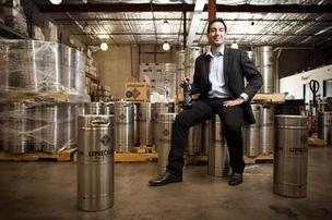 Jake Schiffer, president of Leprechaun Cider Co., at its Houston distribution warehouse.