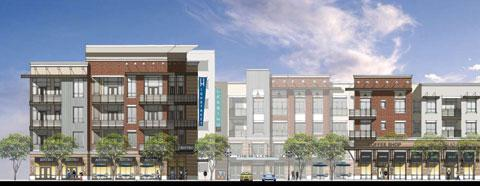 Rendering of Dinerstein Cos.' 336-unit luxury apartment complex — highlight of the revised High Street project.