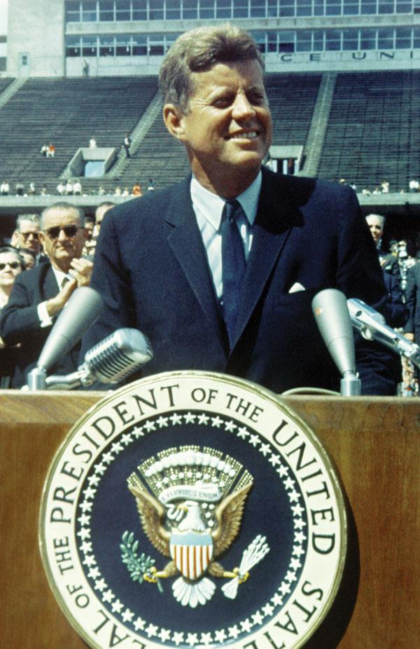 """""""We choose to go to the moon in this decade and do the other things not because they are easy but because they are hard.""""— President John F. Kennedy, addressing Rice University in 1962"""