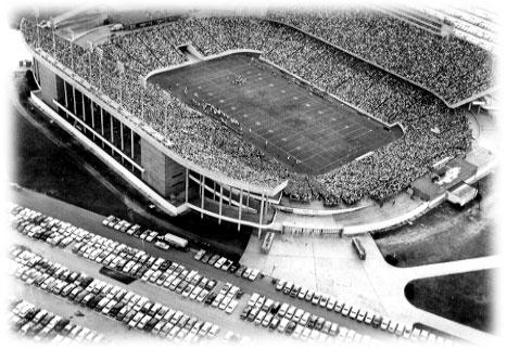 Rice University's new Rice Stadium took nine months to build in 1950 at a cost of $3.3 million.