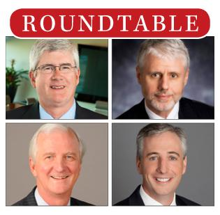 HBJ CFO roundtable: Top left, John Durie, CFO of Green Bank, has been in banking for 13 years and started with Green Bank's predecessor, Red Stone Bank, in 1999; top right, Phil Green, CFO of Frost National Bank, has been in banking for 31 years, all of which have been at Frost; bottom left, Randy Meyer, CFO of Amegy Bank where he has been for 14 years, and in banking for more than 30; and bottom right, Patrick Oakes, CFO of Encore Bank, has been in the financial services industry for a little over 20 years, with the last 12 in banking. He has been at Encore since the Sterling acquisition in mid-2011.