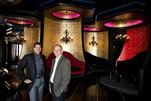 Wayne Prejean (left) and Marc Smith at the Houston Motor Club's new clubhouse and bar, the Marque, which is opening this month at CityCentre.